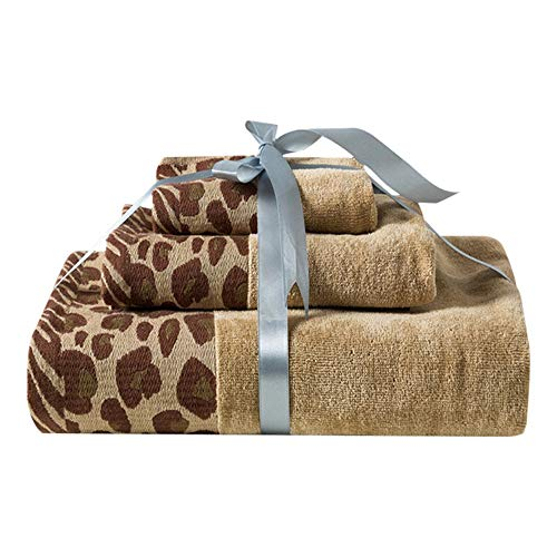Badhanddoeken Fashion Sexy Leopard katoenen handdoek handdoek Set super zacht en sterk zuigende (3 Pack) QPLNTCQ