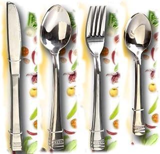 Paolo Rossi juego de 24 cubiertos de acero inoxidable 18/10 de construcción pesada, 6 cuchillos, 6 tenedores, 6 cucharas, 6 cucharillas de café, ideal para el hogar, Bar, Ristorante, pizzería