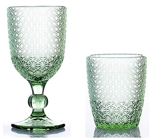 kedea Bicchieri Acqua Colorati in Vetro, Calici Vino Colorati in Vetro, Lavabili in lavastoviglie, Bicchieri e Calici in Pasta Colore Lavabili in Lavastoviglie, Pave' Verde Smeraldo
