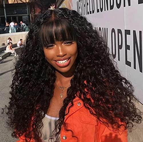 Curly Human Hair Wig with Bangs Machine Made Curly Wigs for Black Women Brazilian Virgin Human Hair Wigs 150% Density 18 Inch