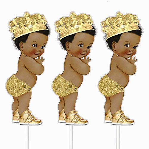 Gold Little Prince Table Decoration Centerpieces, Set of 3 African American Prince Royal Birthday Cake Centerpieces