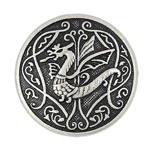 Bezelry 10 Pieces Spitfire Celtic Dragon Metal Shank Buttons. 25mm (1 inch) (Antique Silver)
