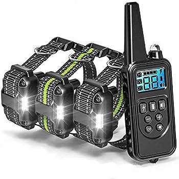 Sniu Collier Dressage chien-800m Collier d'entraînement à Distance avec 99 Niveaux de Chocs et Vibrations, Modes de lumière et de Son Standard,Rechargeables et 100% imperméables, pour Trois Chiens