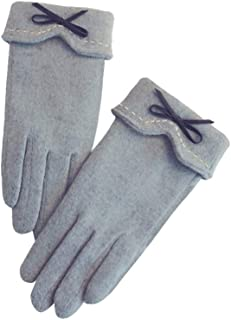 HEALLILY Women Touchscreen Gloves Windproof Winter Warm Accessories with Bownot for Women Beige