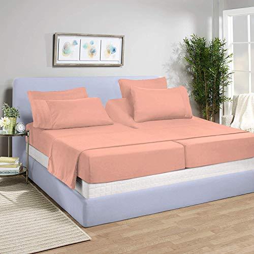 LinenEra Juego de sábanas de 5 piezas, 800 hilos, 100% algodón natural, para cama ajustable, 2 sábanas bajeras, 1 plana, 2 fundas de almohada, tamaño king y sábana ajustable...