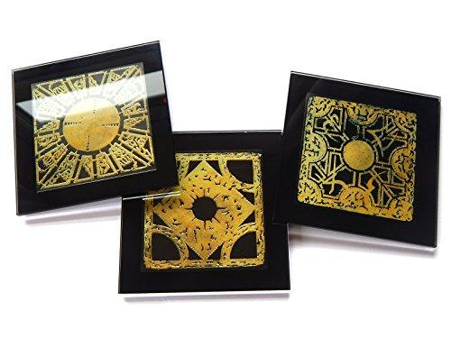HELLRAISER PUZZLE BOX - Juego de 3 posavasos de cristal con cajas de regalo