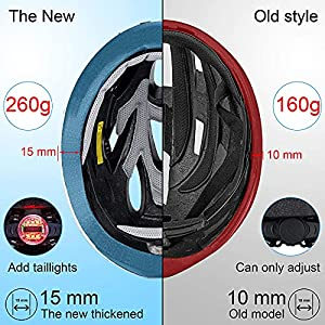 TOONEV Adult Bike Helmet with LED Light, Lightweight Integrally Sport Mountain Bicycle Helmets Adjustable Size 54 to 62 cm for Men Women Teenager Cycling Helmet (White)