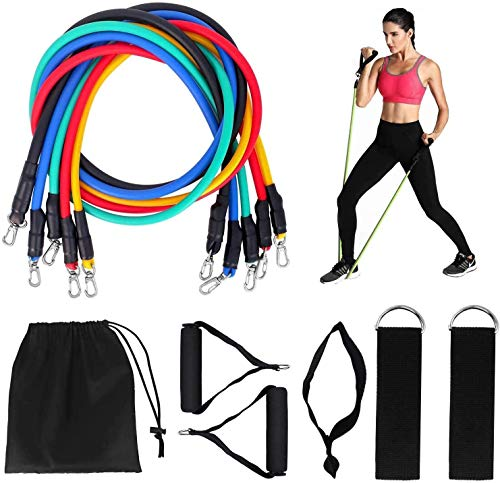 VR7 Exercise Resistance Bands Set Fitness Stretch Workout Bands 11PC with Fitness Tubes Foam Handles Ankle Straps Door Anchor for Home Gym Fitness Physical Therapy Up to 150 lbs