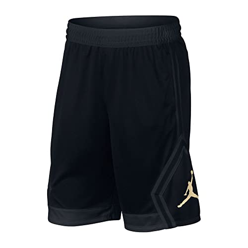 42dace3f73fa68 Nike Mens Jordan Rise Diamond Basketball Shorts Black Gold 887438-014 Size  Large