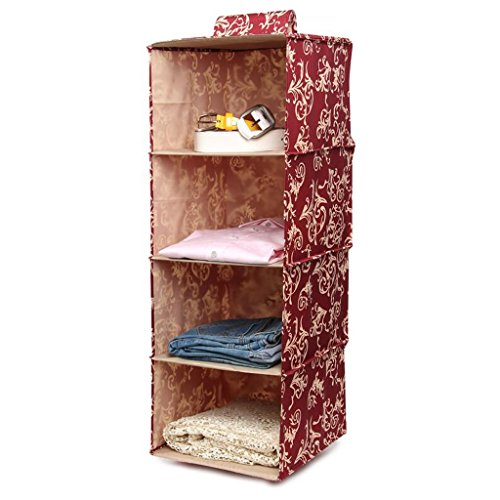 Sacs de rangement Xuan - Worth Another Red Floral Pattern Wardrobe Hang Clothing Storage Bag Garde-Robe Lingerie Multilayer Drawer Box Cloth Storage Box (Couleur : Four Drawers)