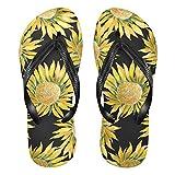 Mnsruu Acuarela girasol arte floral flor flip flops sandalias hogar zapatillas hotel spa dormitorio viajes S para hombres mujeres