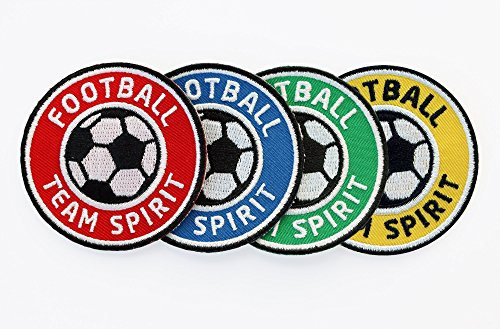 4er-Set Fussball Abzeichen 60 mm / Football Team Spirit / Aufbügler Aufnäher Applikation Bügelbild Sticker Iron on Patch für Team Dress Trikot Shorts T-Shirts / Fußball Mannschaft Spieler Verein Fan