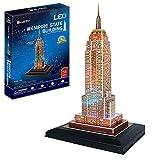 CCCYT 3D Building Puzzles, Empire State Building Night Edition Puzzle Souvenir Juguetes educativos para niños Regalos para niños y niñas LED Modelos Decoración De Mobiliario Exquisita(38Pcs)