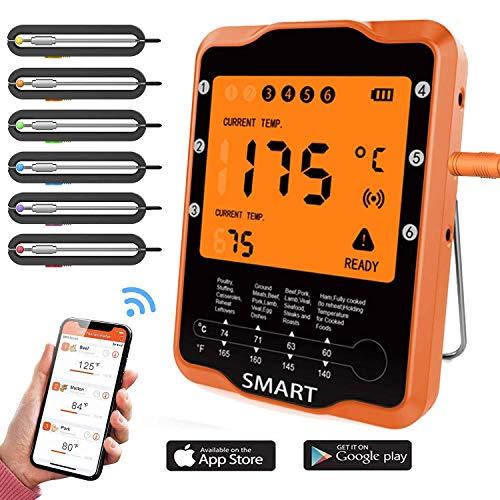 Drahtloses Fleischthermometer zum Grillen, Bluetooth Fleischthermometer Digital BBQ Kochen Thermometer mit 6 Sonden Alarm Monitor Kochen Thermometer für Grill Ofen Küche Unterstützung iOS & Android