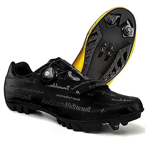 DSMGLRBGZ Zapatillas MTB, 36-47 con Cerradura Respirable, Hebilla de Zapato Giratoria para Niño, Niña, Mujer, Zapatillas Montaña Bicicleta,Negro,41