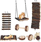 Lurowo Jouet de Hamster,8 Accessoires de Jouet, Pont Échelles, Balançoire Jouet,Naturel Jouet Molaire Perché Hamac, Jouets pour...
