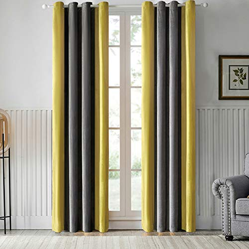 Orval Soundproof, Thermal Insulated, Polyester Splicing Window Curtains with Grommets & Tiebacks, All Season Curtains for Home/Kitchen/Drawing Room -Gold Yellow/Dark Gray Color, W52 X L63, 1 Panel