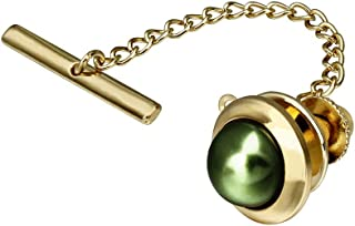 AMITER Round Tie Tack Clips Pins for Men Wedding Business Accessories - Faceted Pearl in Rich