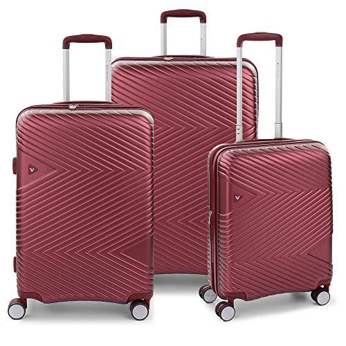 RONCATO Arrow - Juego de 3 maletas rígidas ampliables (larg. + medio + cabina) 4 ruedas tsa rojo oscuro