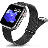 Sunnywoo Metal Stainless Steel Band Compatible with Apple Watch Bands 38mm 40mm 42mm 44mm,Black Loop Adjustable Strap Magnetic Replacement Wristband for iWatch Series 7 6 5 4 3 2 1 SE for Women Men