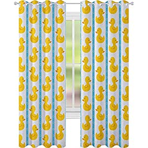 Digital Printing Curtains,Yellow Duckies with Blue Stripes and Small Circles Baby Nursery Play Toys Pattern,W52 x L63 Printing Window Treatment Panels for Living Room,White