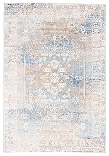 Carpeto Rugs Ethno Vintage Teppich - Kurzflor - Weich Teppich für Wohnzimmer, Schlafzimmer, Esszimmer - ÖKO-TEX Wohnzimmerteppich - Teppiche - Grau Blau - 240 x 330 cm