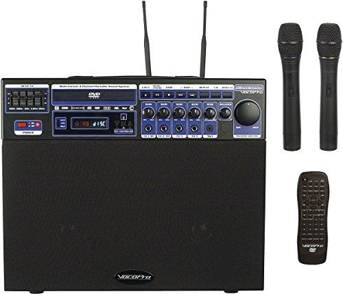 VocoPro DVD-Soundman 80W Multi-Format 4 Channel Portable Sound System with 2 Channel Wireless Mic Module