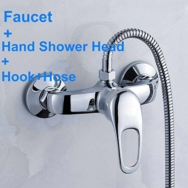 Galvanik Retro Wasserhahn Messing Dusche Wasserhahn Mischventil Warme und kalte Duschen Armaturen Schalter + Dusche + Schlauch Handbrause, Gelb