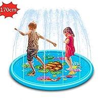 """【68 """"Splash Play Mat】 68"""" splash pad per bambini è sufficiente per la tua famiglia. I bambini possono giocare contemporaneamente sul cuscinetto per irrigazione esterno e divertirsi con questi giochi con cuscinetti per irrigazione ad acqua. 【Tappeto d..."""