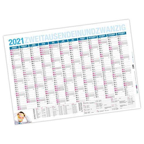 itenga XXL Premium Jahresplaner 2021 Wandkalender abwischbar DIN A0 (118,9x84,1cm) 250g/m² gerollt stabil blau