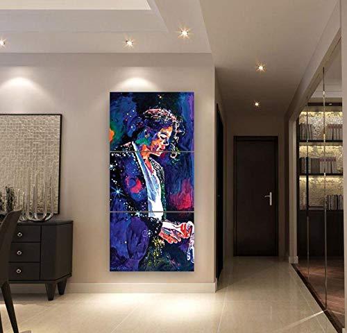 XuFan Hogar Moderno Arte de la Pared Decorativo Lienzo Abstracto Cartel HD Impreso 3 Piezas Michael Jackson Pintura Cuadros modulares 40cm x60cm x3p Sin Marco
