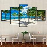 Cuadro De Lienzo Modular 5 Paneles Árbol De Coco Cartel De Playa Arte De Pared Impresión En Hd Centros Turísticos De Vacaciones De Verano Imágenes De Paisaje Marino Decoración Del Hogar-sin marco