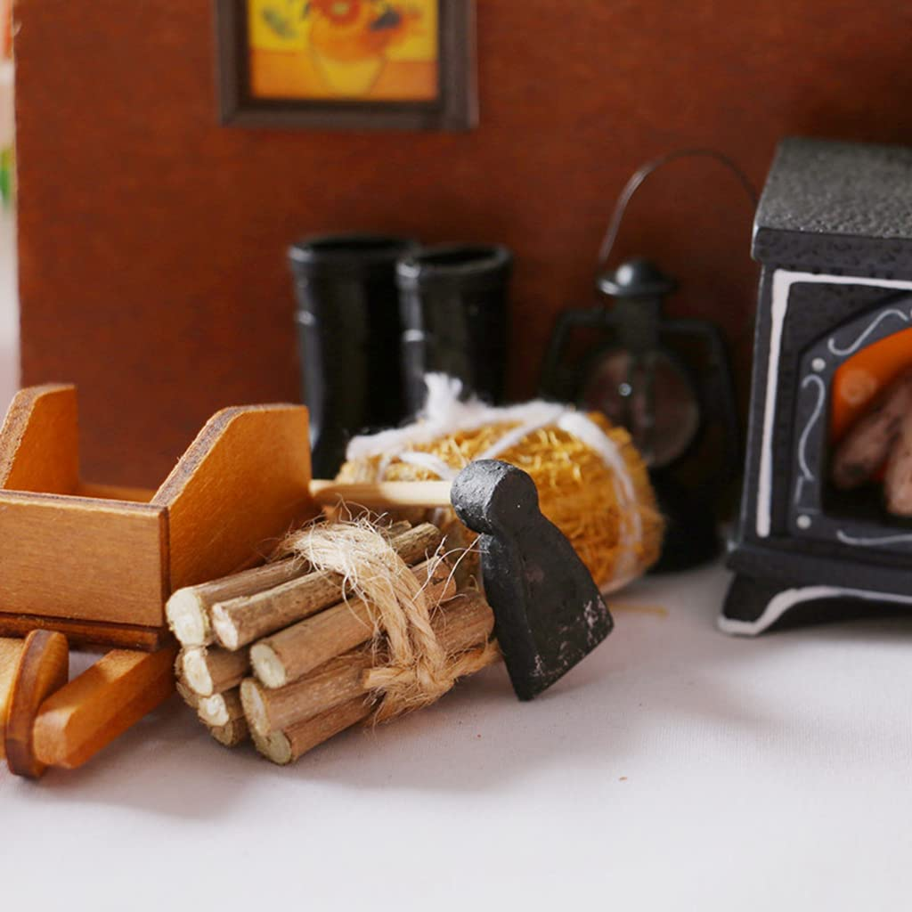 KunmniZ 1:12 casa de mu/ñecas Muebles en Miniatura azada//fardo de Paja//Modelo de le/ña Decoraciones decoraci/ón del hogar Artes y Manualidades Regalo Ideal Accesorios de Mesa