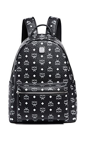 MCM Men's Stark Medium Backpack, Black/White, One Size