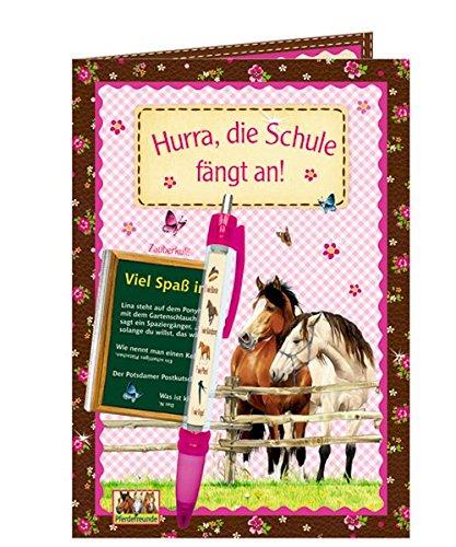Hurra, die Schule fängt an! Grußkarte mit Zauberkuli Pferdefreunde: (Verkaufseinheit) (Grusskarten)