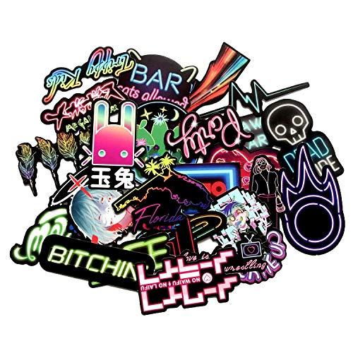 BAIMENG Cool Neon Style Maleta Etiqueta engomada Colorido Efecto Led Teléfono Móvil Portátil Anime Graffiti Pegatina 25pcs/Lot