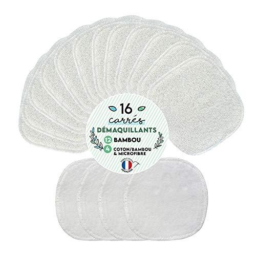 Assortiment 16 Cotons démaquillants lavables - 12 Carrés Bambou - 4 Carrés Bi-matière Coton et Bambou - Lingettes lavables - Fabrication française : Soutenez vos entreprises locales - Double épaisseur