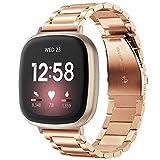 V-MORO Compatibile con Fitbit Versa 3, cinturino di ricambio per Fitbit Sense, in acciaio inox e metallo, cinturino di ricambio per smartwatch Versa 3, nero, argento, oro rosa (oro rosa)