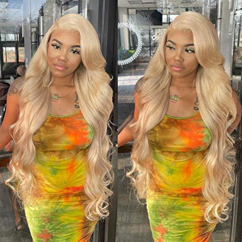 613 Bundles with Closure Brazilian Blonde Human Hair Body Wave 613 Bundles with Closure Human Hair Blonde Bundles with Closure (22 24 26+20, 613#)