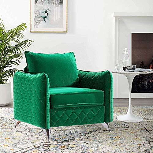 Altrobene Mid Century Velvet Accent Chair, Club Style Living Room Armchair, Silver Metal Legs, Green