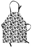 Lunarable Movie Apron, Vintage Film Cinema Motion Camera Action Record Graphic Style Print, Unisex Kitchen Bib with Adjustable Neck for Cooking Gardening, Adult Size, White Black