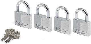 Master Lock 9140EURQNOP Pack of 4 Key Padlocks in Aluminium, Grey, 4 x 5.9 x 1.3 cm