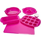 Silicone Bakeware Set, 18-Piece Set including Cupcake Molds, Muffin Pan, Bread Pan, Cookie Sheet,...