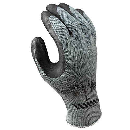 SHOWA - 300BXL-10 Atlas 300B Fit Palm Coating Natural Rubber Glove, Black, X-Large (Pack of 12 Pairs)