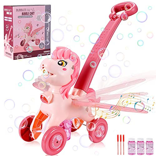 ZAYOR Bubble Machine for Kids,Fun Cute Horse Bubble Mower with Music Lights,Summer Outdoor Push Toy for Beach,Garden,Park,Lawn Game,Preschool Toddler Toys Birthday Unicorn Gifts for Girls 1-6 Year Old