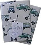 4 x 4 Off Roader Kraft Effect Gift wrap with Spaniel, Labrador and Collie Dogs
