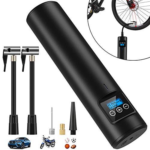 Jane Choi Elektrische Digitale Reifenpumpe mit 2000mAh Akku, 150PSI Fahrradluftpumpe Kompressor mit LCD-Bildschirm Taschenlampe,Tragbare Luftkompressor für Fahrrad Auto Motorrad Bälle Schwimmringe