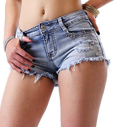 Instinct Pantaloncini Donna Jeans Corti Strappati Shorts Vita Bassa Sexy (XS / 38 IT / 34 FR, Blu Jeans)
