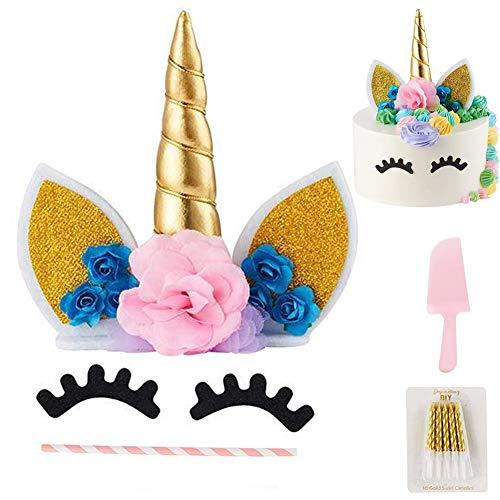 Pastel unicornio, Cake Topper para bodas, cumpleaños, baby shower, 1st Birthday Diy kit tarta con flores rosa, orejas, ojos decoración, Copa Pastel Velas y cuernos Party decoración pastel unicornio