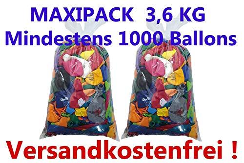 deqoo Luftballons Fehldrucke 3,6 kg mit mindestens 1000 Stück 25-40cm Durchmesser
